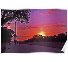 Sunset on the Mall - Washington, DC Poster