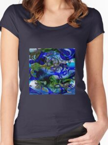 Lions of the Deep - a Surreal, Oceanic Drawing Women's Fitted Scoop T-Shirt
