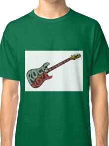 """Rock n roll"" vintage poster. Rock and Roll guitar logo in retro style Classic T-Shirt"