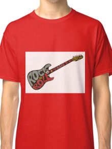 """""""Rock n roll"""" vintage poster. Rock and Roll guitar logo in retro style Classic T-Shirt"""