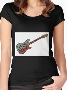 """Rock n roll"" vintage poster. Rock and Roll guitar logo in retro style Women's Fitted Scoop T-Shirt"
