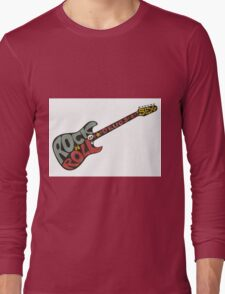 """Rock n roll"" vintage poster. Rock and Roll guitar logo in retro style Long Sleeve T-Shirt"