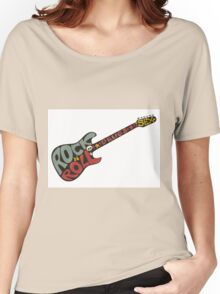 """""""Rock n roll"""" vintage poster. Rock and Roll guitar logo in retro style Women's Relaxed Fit T-Shirt"""