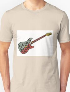 """Rock n roll"" vintage poster. Rock and Roll guitar logo in retro style Unisex T-Shirt"
