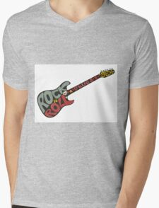 """""""Rock n roll"""" vintage poster. Rock and Roll guitar logo in retro style Mens V-Neck T-Shirt"""