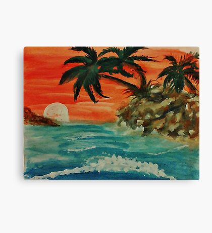Pink sunset in seascape, watercolor Canvas Print