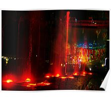 Red Dancing Waters by Hong Kong Harbour Poster