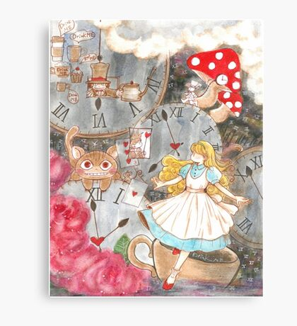 Alice's time travel in wonderland Canvas Print