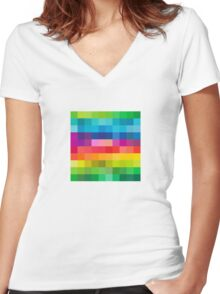 Colorful V2 Women's Fitted V-Neck T-Shirt