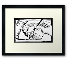 Laughzilla Snaps off the page Framed Print