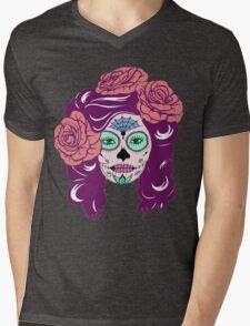 Colorful Sugar Skull Woman Mens V-Neck T-Shirt