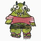 Funny Cartoon Monstar 001 by Lillyarts