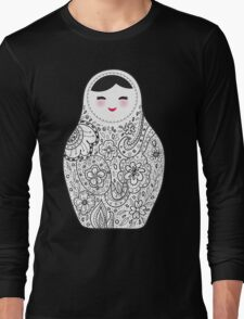 Cute doll matrioshka Babushka on black background Long Sleeve T-Shirt