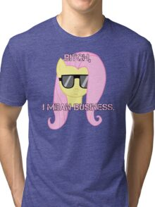 FlutterShy means business. Tri-blend T-Shirt