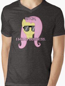 FlutterShy means business. Mens V-Neck T-Shirt