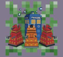 8bit Robot Droid Dalek with blue phone box Kids Clothes