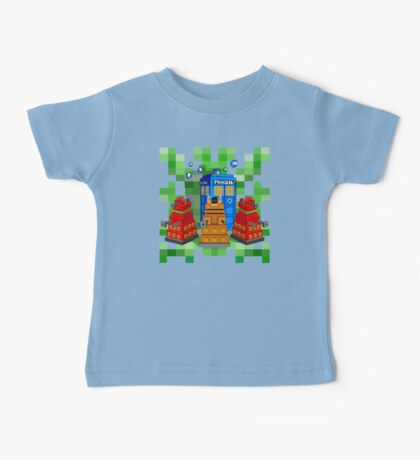 8bit Robot Droid Dalek with blue phone box Baby Tee