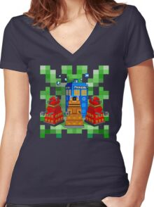 8bit Robot Droid Dalek with blue phone box Women's Fitted V-Neck T-Shirt