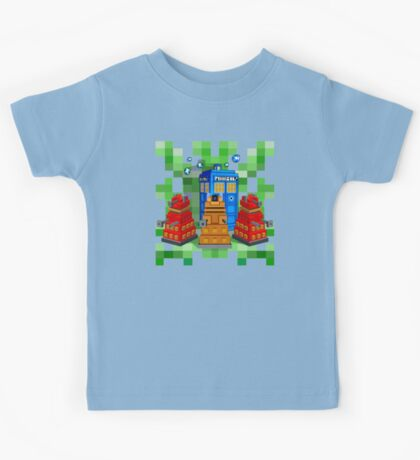 8bit Robot Droid Dalek with blue phone box Kids Tee