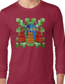 8bit Robot Droid Dalek with blue phone box Long Sleeve T-Shirt