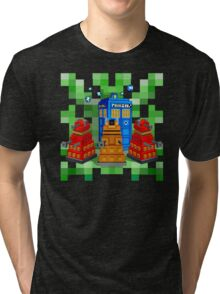 8bit Robot Droid Dalek with blue phone box Tri-blend T-Shirt