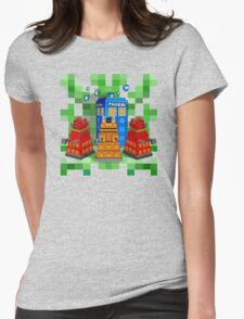 8bit Robot Droid Dalek with blue phone box Womens Fitted T-Shirt