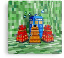 8bit Robot Droid Dalek with blue phone box Metal Print