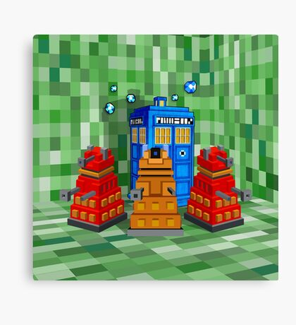 8bit Robot Droid Dalek with blue phone box Canvas Print