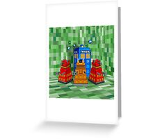 8bit Robot Droid Dalek with blue phone box Greeting Card