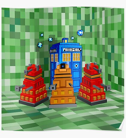 8bit Robot Droid Dalek with blue phone box Poster
