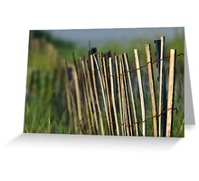 Beach Fence and Grass at Robert Moses Beach Greeting Card