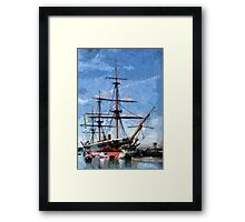 HMS Warrior the first iron-hulled, armour-plated warship Framed Print