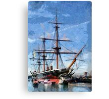 HMS Warrior the first iron-hulled, armour-plated warship Canvas Print