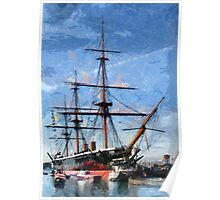 HMS Warrior the first iron-hulled, armour-plated warship Poster