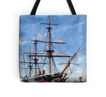 HMS Warrior the first iron-hulled, armour-plated warship Tote Bag