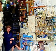 Selling Crafts and Souveniers below the Acropolis by HELUA