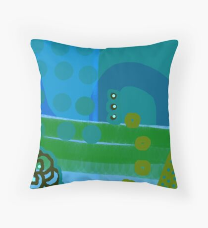 Blue Eco Throw Pillow