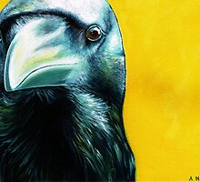"""""""The Crow"""" acrylic painting on canvas by Alison Newth"""