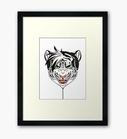 Headphone White Tiger Framed Print
