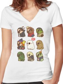 Puglie Halloween Women's Fitted V-Neck T-Shirt