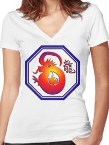 Chinese New Year of The Dragon Women's Fitted V-Neck T-Shirt