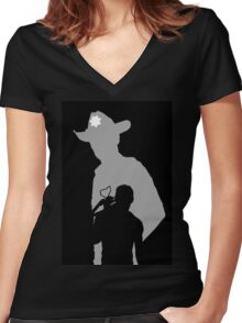 Rick and Daryl Women's Fitted V-Neck T-Shirt