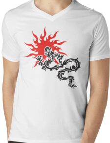 Chinese Dragon Mens V-Neck T-Shirt