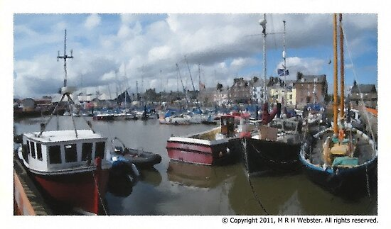 Harbour Arbroath oil pastel by markw123
