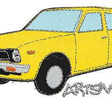 Stitched Yellow Vintage Honda Civic On Denim by Tom Mayer