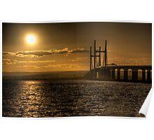 Severn Bridge Sunset Poster