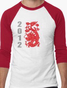 Year of The Dragon 2012 Paper Cut Men's Baseball ¾ T-Shirt