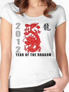Year of The Dragon 2012 Paper Cut Women's Fitted Scoop T-Shirt