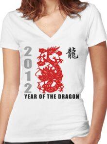 Year of The Dragon 2012 Paper Cut Women's Fitted V-Neck T-Shirt