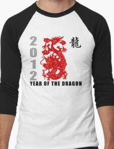 Year of The Dragon 2012 Paper Cut Men's Baseball ¾ T-Shirt